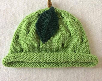 kid's knit hat, toddler hat, small kid's hat, small knit hat, lime green hat, knit fruit hat, fruit toddler hat, knit lime hat, merino hat