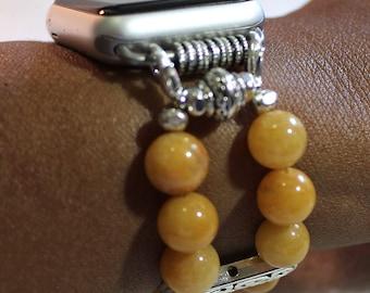 Apple Watch Band, Natural Yellow Jade Apple Watch Bracelet, Watch Band Bracelet for Apple Watch, Watch Bracelet, Watchband