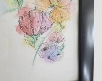 Poppies watercolor print