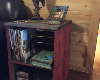 Large rustic crate end table