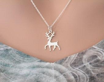 Sterling Silver Reindeer Charm Necklace, Deer Necklace, Silver Stag Necklace, Reindeer Necklace, Silver Christmas Reindeer Charm Necklace