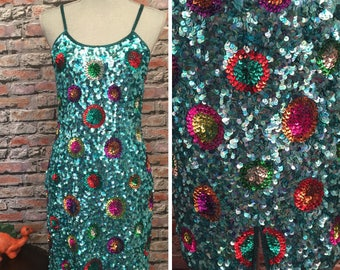 Vintage Turquoise Silk And Sequin Wiggle Disco Dancing Dress  Size Medium