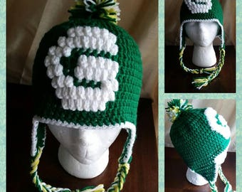 Green Bay Packers  Crochet Hat with Ear Flaps