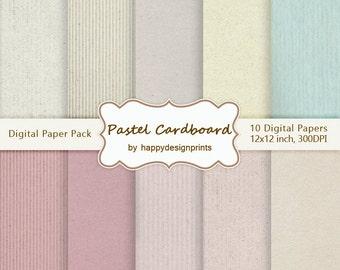 "SALE! Pastel Cardboard Digital Paper Pack of 10, 300 dpi, 12""x12"" Instant Download Pattern Paper Scrapbooking, Invites, Cards JPG"