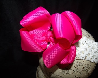 Hairbow Shocking Pink Double Layered Boutique Bow and Interchangeable Headband Newborn Toddler Older Girl