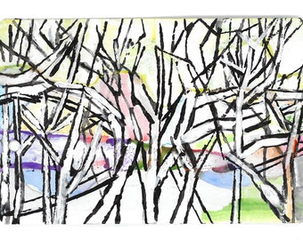 "POCKET ART.  ""Winter Pastorale"" – 5.4 x 8.6 cm.  Miniature painting on repurposed paper subway ticket."