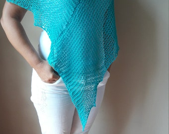 Poncho Hand Knitted Shawl Capelet Shrug Turquoise Cotton Loose Knit Summer Poncho