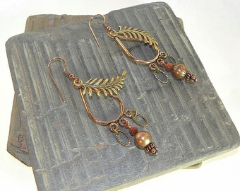 Mixed Metals Chandelier Earrings Nature Inspired E106