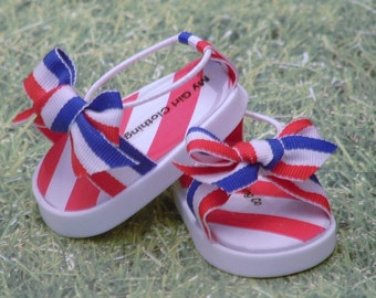 Red, White, and Blue Bow Sandals for the Fourth of July