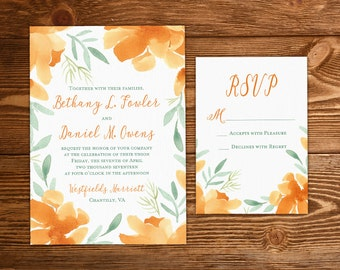 "Floral Invitation Watercolor Wedding - Rustic Wedding Invitation Set ""Orange Magnolia"" Watercolor Flowers Invitation Insert Response DEPOSIT"
