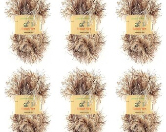 Eyelash Yarn - 6 x 50g Skeins - Caramel