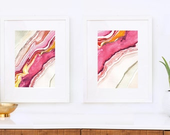 Framed Diptych of Agate I and II, Abstract Watercolor, Pair of prints: Magenta
