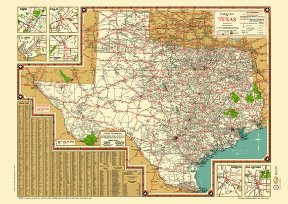 Texas Road Map 1940s Map Poster Vintage Dime Box Dallas Fort