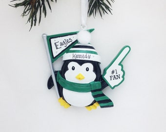 CLEARANCE: Sports Fan Personalized Christmas Ornament / Green, White & Black Team Colors / Penguin Ornament / #1 Fan