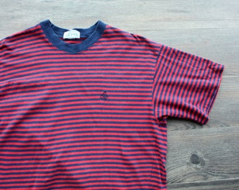 Vintage 1980's Blue and Red Striped T-Shirt // IZOD
