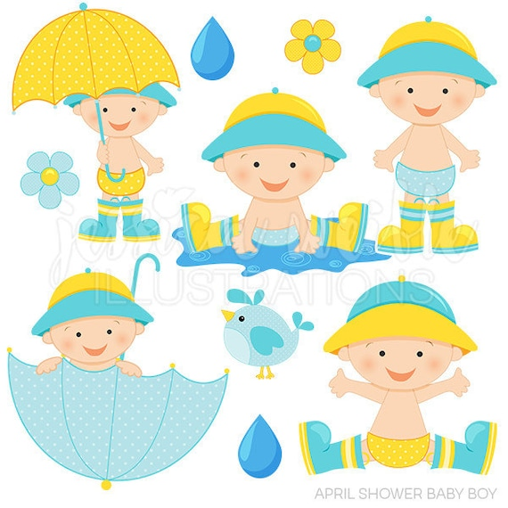 April Shower Baby Boy Cute Digital Clipart Baby Boy with