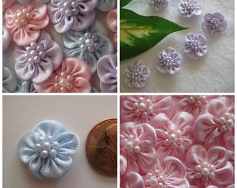 18 pcs Pink, Lavender, Blue Satin Flower Appliques 7 Pearls Center for Crafting, Sewing, Doll Shoes, 3/4 inch (20 mm)