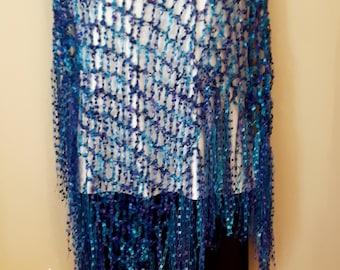 Long Blue & Purple Poncho - Diagonal Poncho with fringe - ClaudiasCrochet