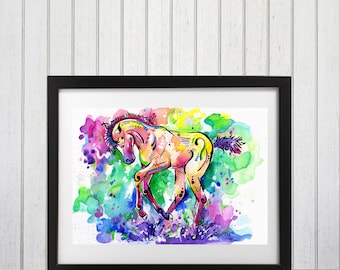 Watercolor horse art, Foal art print, Horse wall decor, Foal decor, Rainbow horse, Brightly colored, Horse lover gift