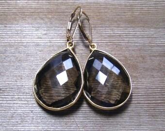 Smokey Topaz Earrings, Bezel Set 24K Gold Vermeil, Handmade Jewelry, Brown Dangle Large Stone Earrings, Topaz Jewelry