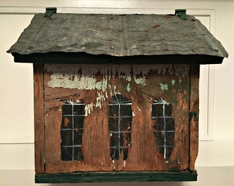 Large Vintage Handmade One of a Kind Hand Painted Wood Garden/Bird/Mail House Art with Vintage Metal Roof Tiles