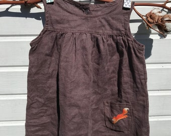 Linen Dress, Brown dress , Washed Linen, Hand Embroidery, Organic Kids Clothing, Little Alice linen
