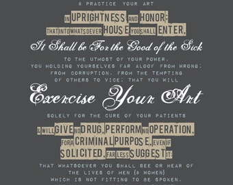 HIPPOCRATIC OATH - Oath of Hippocrates, Typographic style poster for Medical professionals, doctor, nurse gift