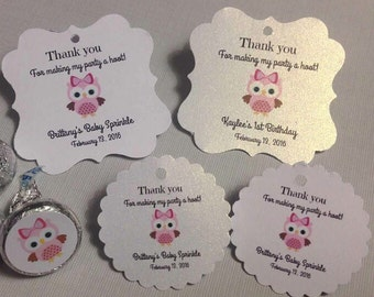 Thank you favor tags, owl party, thank you tags, personalized favor tags, birthday davirs, shower favor tags