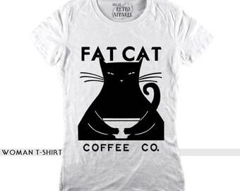 FAT CAT t-shirt, funny cat t-shirt, cat lovet gift, 50s t-shirt, vintage t-shirt, cat lover, cats tees, cat lover shirt, funny fat cat
