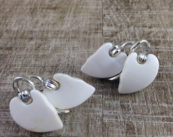 Signed Vintage Claudette White Thermoset Leaves Clip Earrings