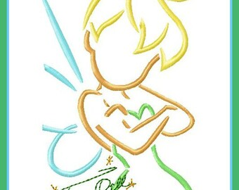 Tinker Bell Sketch with Autograph Combo Digital Embroidery Machine  Design File 5x7 6x10
