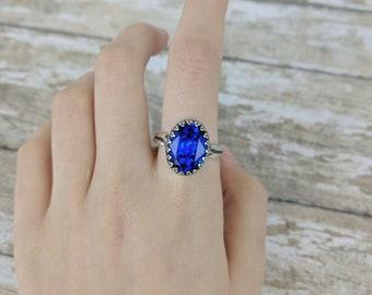 Sapphire Medium Stone Swarovski Crystal Ring