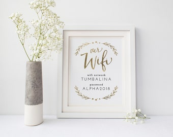 "Printable Wifi Password GOLD | Instant Download | 8x10"" and 5x7"" 