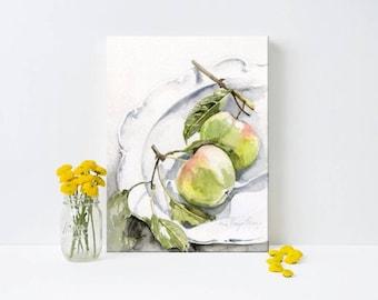 green apples painting, watercolor art print, fruit art, kitchen art decor, wall art, watercolor painting, fruit painting, farmhouse decor