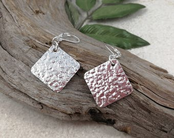TEXTURED SQUARE Spoon EARRINGS, sterling silver drop earrings, rolling mill texture, geometric earrings, up-cycled  from vintage spoon.