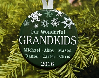Our Wonderful Grandkids Ornament - Personalized with names and year - 5 color choices - up to 20 names - C152
