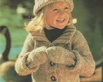 Childrens Jacket Hat and Mitts PDF Knitting Pattern : Toddlers 22, 24 and 26 inch chest . Boy or Girl . Mittens . Cardigan