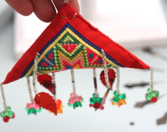 Charming vintage artisan Christmas ornament - very unique - embroidery, beads, sequins and more