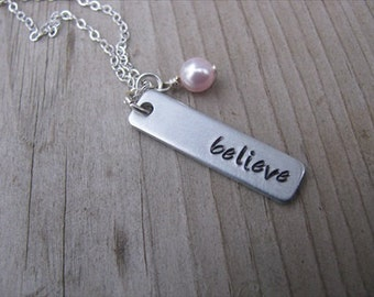 """Inspiration Necklace- Hand-Stamped Necklace-brushed silver rectangle with """"believe"""" and an accent bead of choice- Personalized Gift"""
