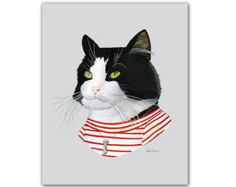 Tuxedo Cat art print - Modern kid art - Pet Portrait - Animals in Clothes - Animal Art - Modern Decor - Ryan Berkley Illustration 8x10