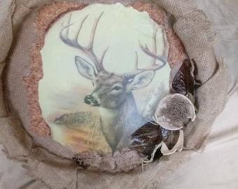 Burlap Deer wall art