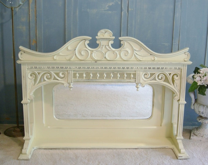 "MANTLE MIRROR SHELF - Oak - Shabby Chic - Farmhouse - Antique - French Country - 47"" wide 34"" tall -"