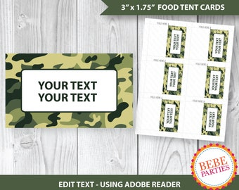 """PRINTABLE Army, Camouflage, Boot Camp Tent Cards 