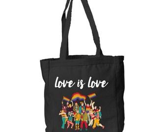 Book Tote - Love is Love - Tote - Canvas Tote - Pride Tote - Gay Pride - Rainbow Pride - Printed Tote
