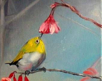 Tiny bird painting Oil Bird painting on canvas Original