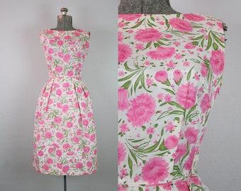 1960's Pink Carnation Print Silk Cocktail Wiggle Dress / Size XSmall Small