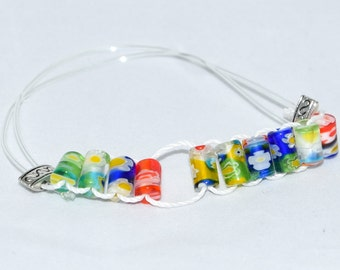 AcCountAbility ABACUS BRACELET, Counting, Tracking Improvements and New Habits 5x8mm Millefiore Glass Tube Beads AABR-mmt