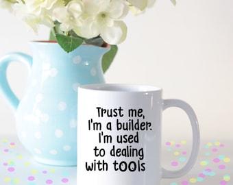 Funny builder mug, funny mug for builders, funny gifts for builders, funny mug builders, insulting builders mug