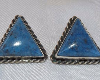 Denim Lapis Sterling Silver Earrings by Silver Creations