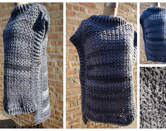 Crochet Poncho -Grey Blend Poncho- Silver Buttons - Custom Colors - Custom Sizes available
